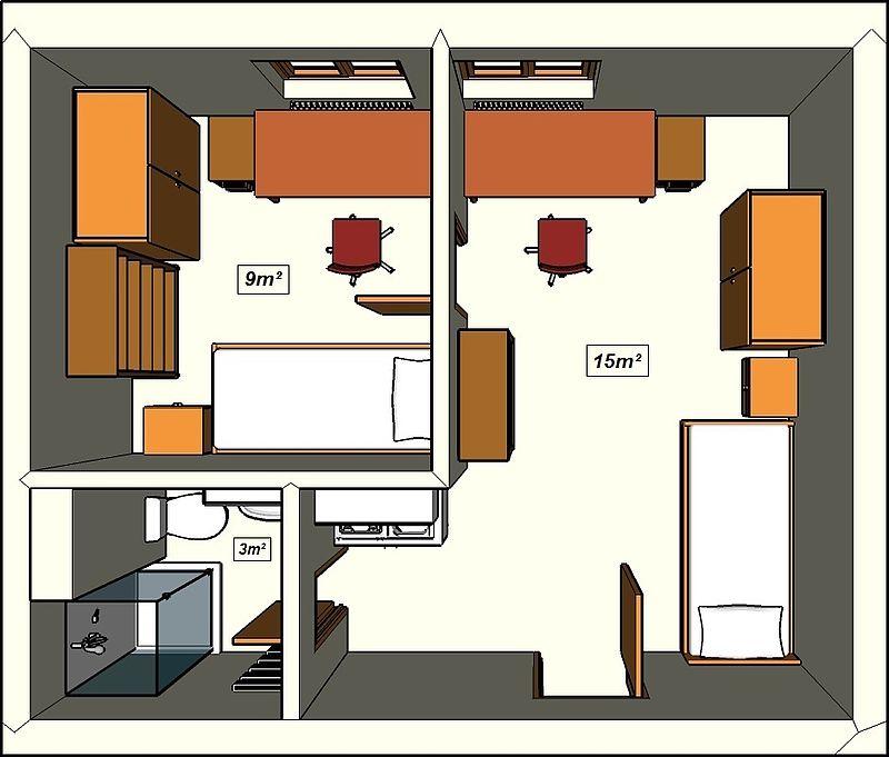 wohnungen f r 2 personen. Black Bedroom Furniture Sets. Home Design Ideas